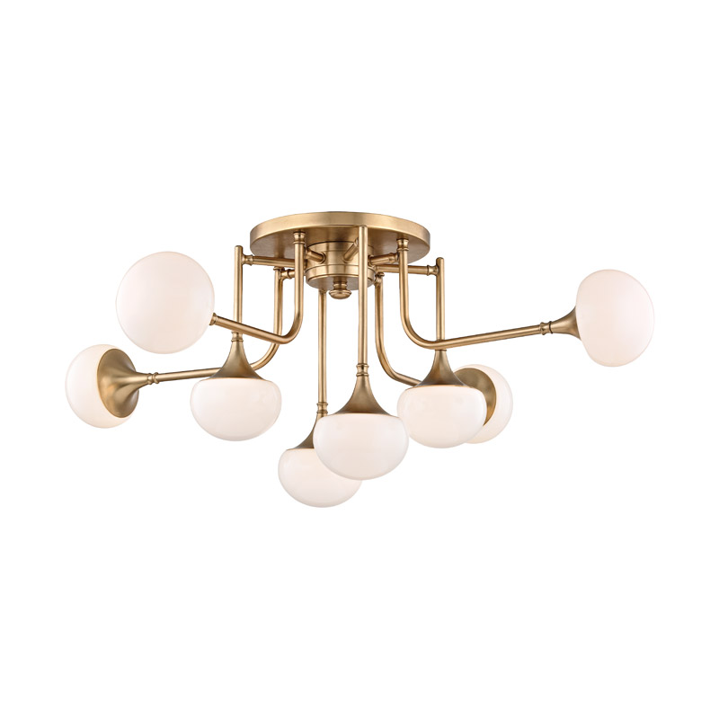 Fleming semi flush ceiling light by hudson valley lighting 4708 agb