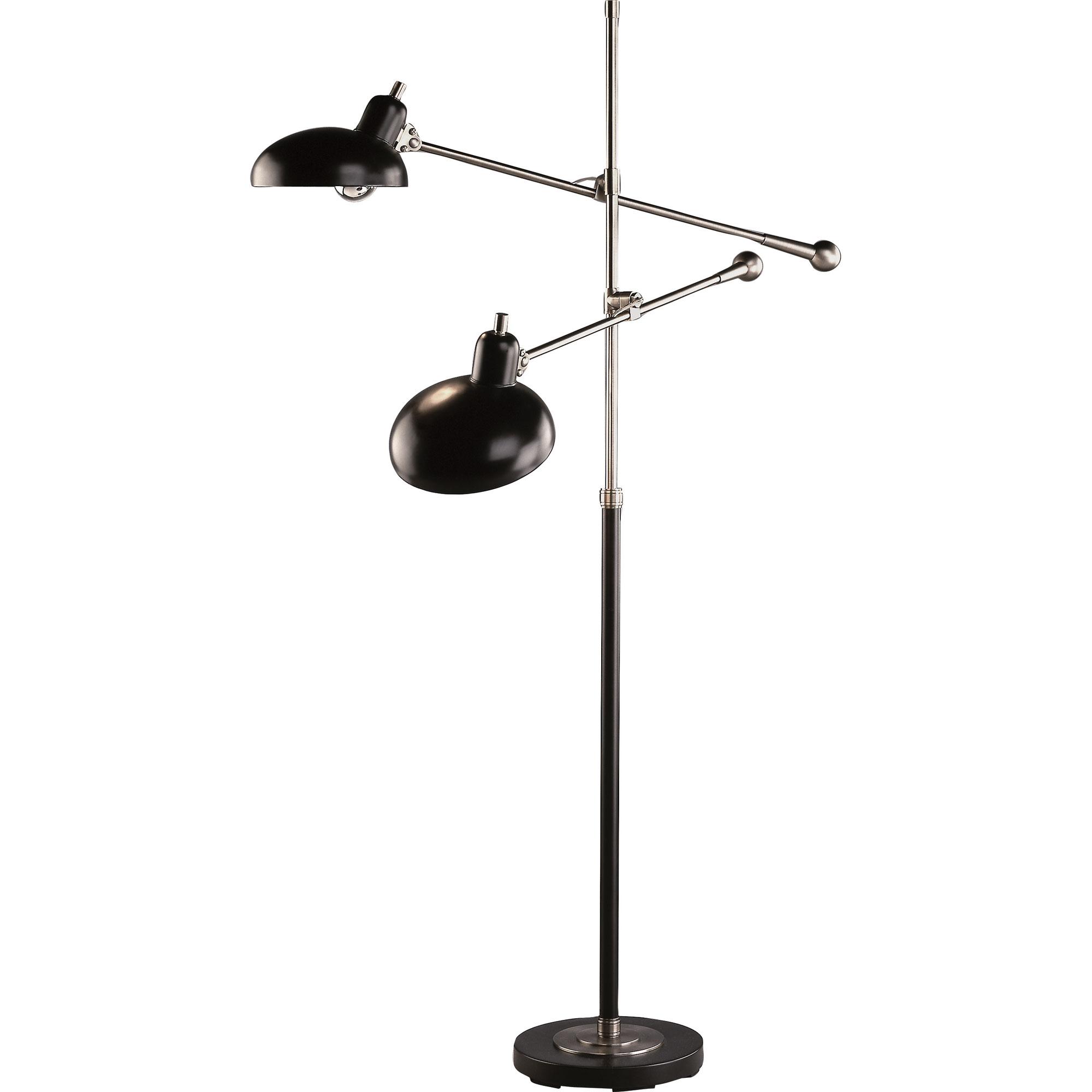 Superbe Bruno Adjustable Double Arm Pharmacy Floor Lamp By Robert Abbey