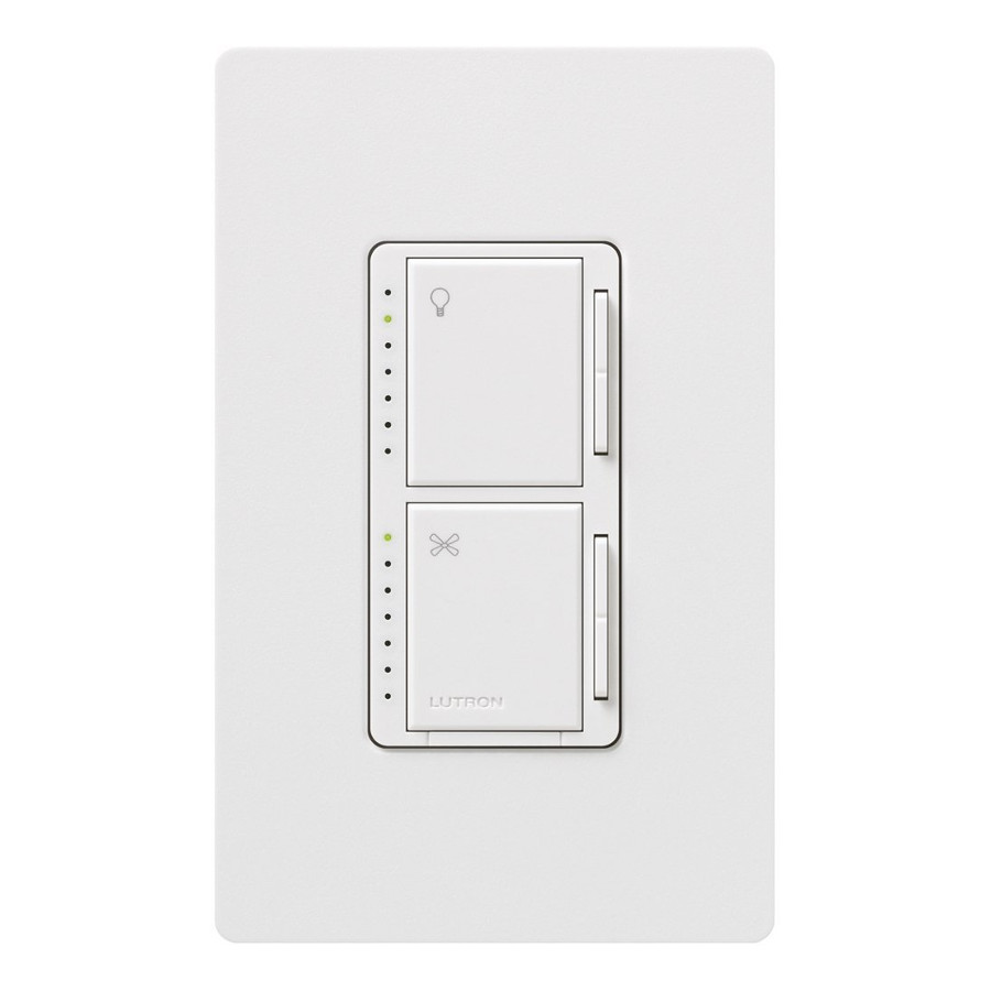 dimmer with fan light control single pole by lutron ma lfqhw wh. Black Bedroom Furniture Sets. Home Design Ideas