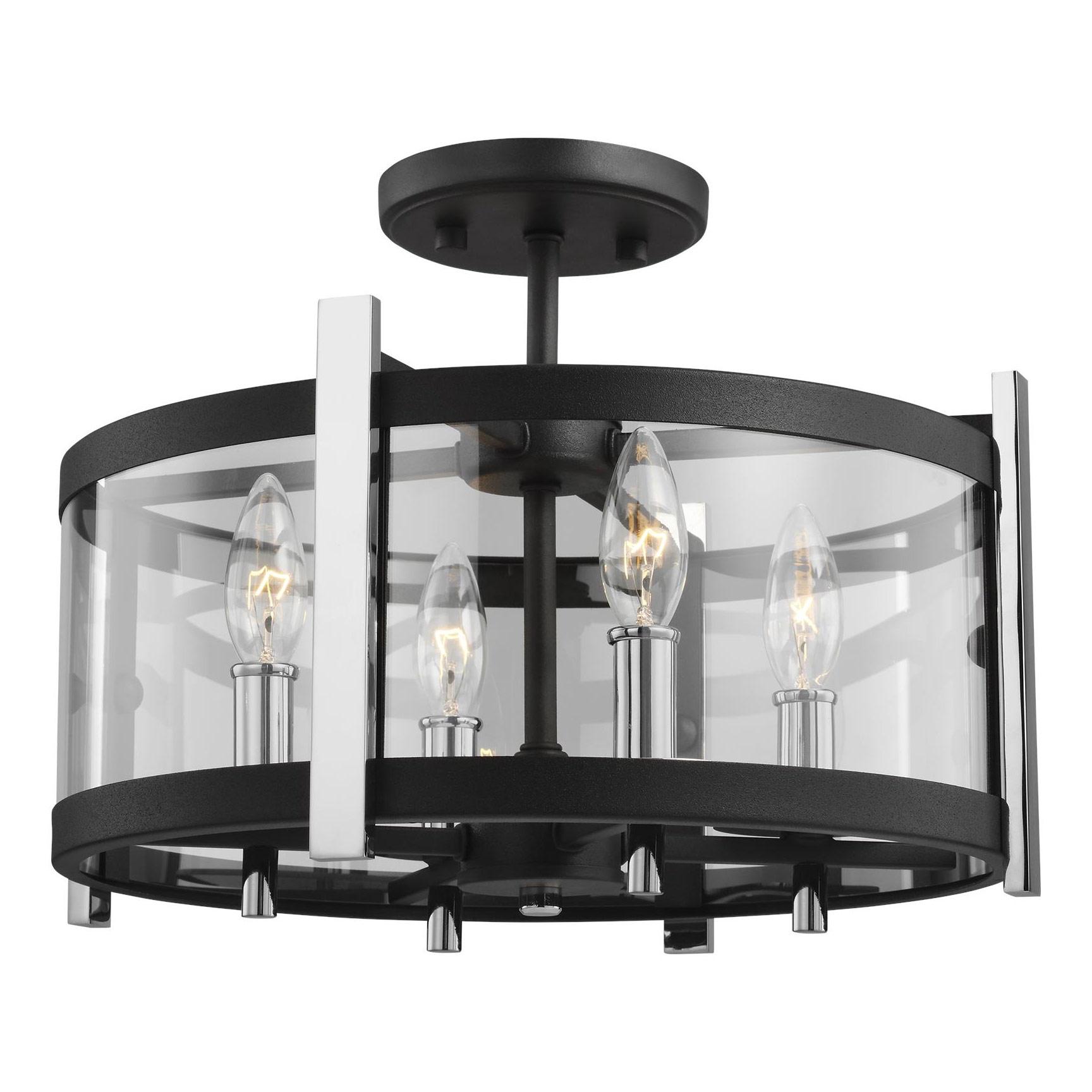 Broderick Semi Flush Ceiling Light Fixture by Feiss   SF347TXB/CH