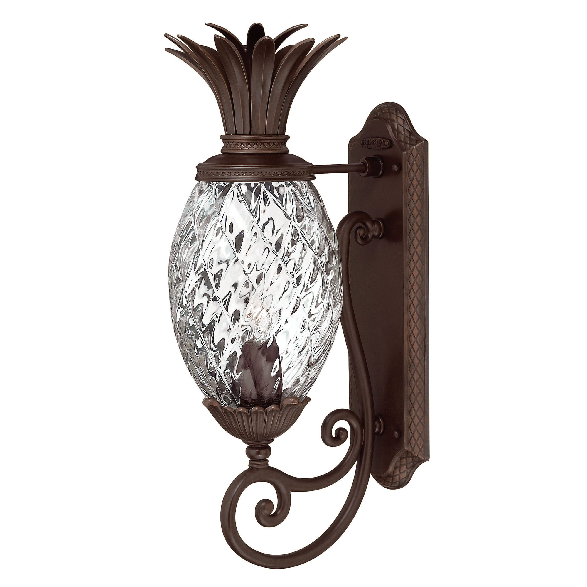 Plantation outdoor scroll wall light clear optic by hinkley lighting 2220cb