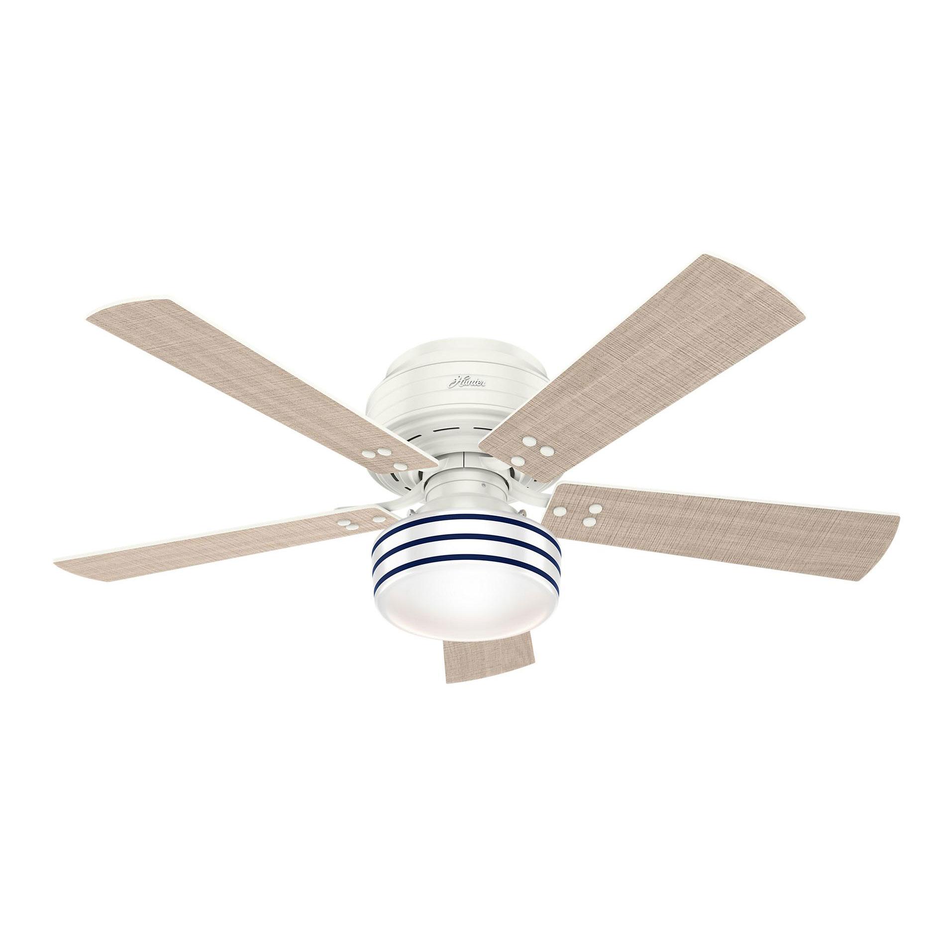 Cedar Key Low Profile Indoor Outdoor Ceiling Fan With Light By Hunter