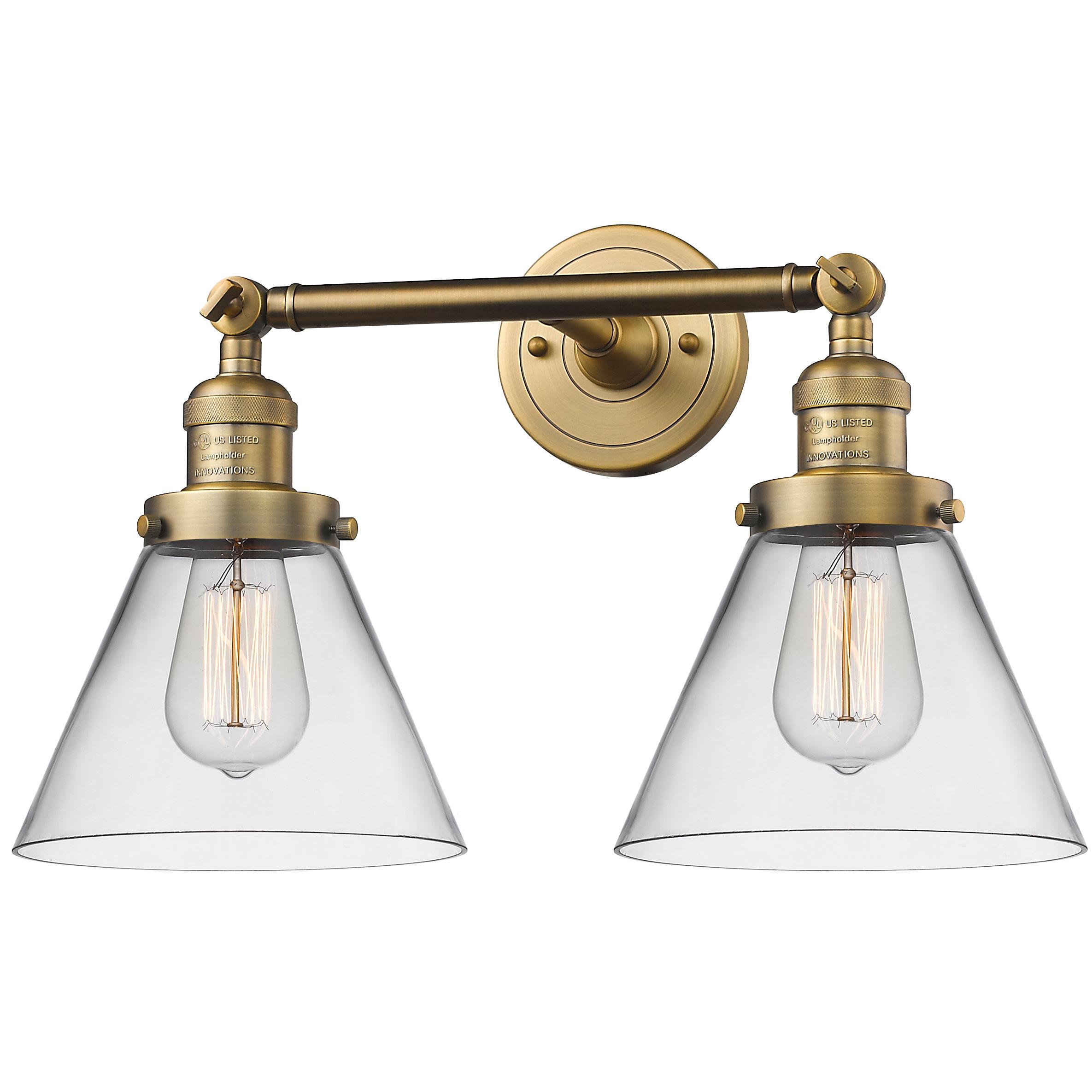 Large Cone 2 Light Bathroom Vanity By, 2 Light Bathroom Vanity Light