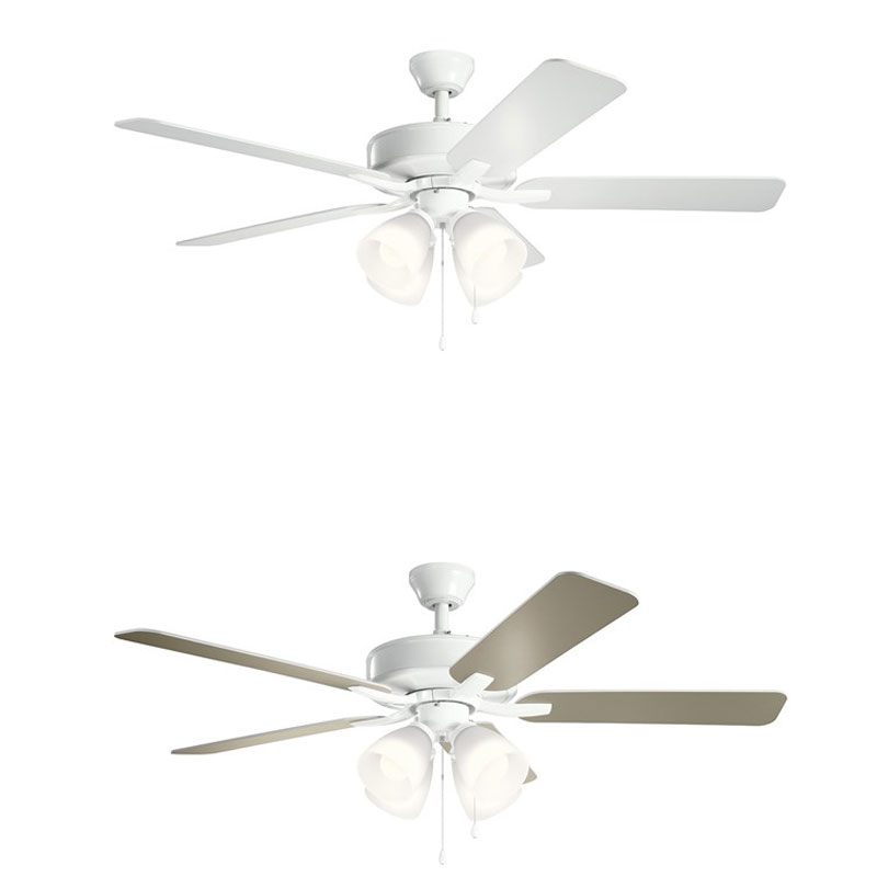Basics Pro Premier Ceiling Fan With White Shade Light Kit By Kichler 330016wh