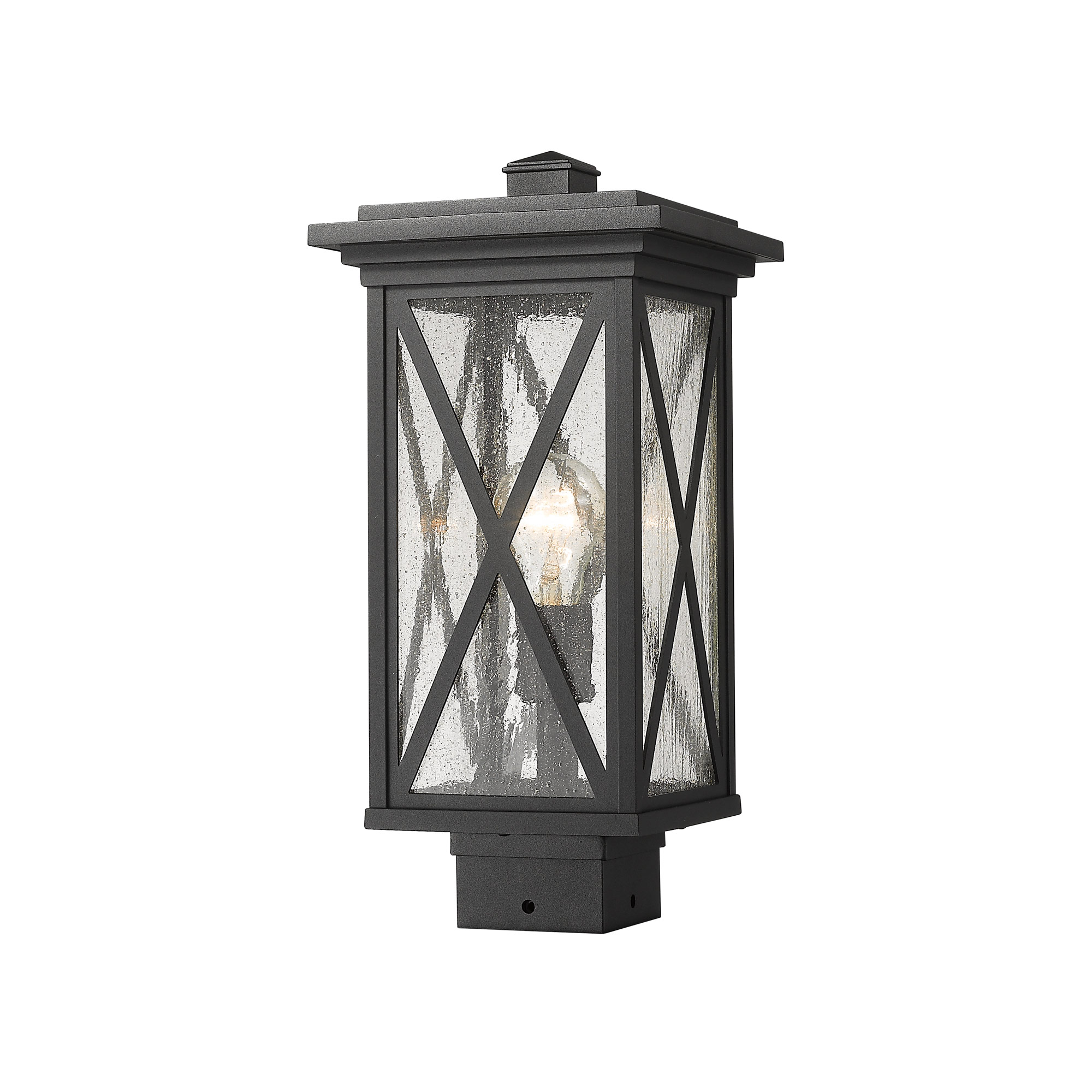 Brookside Outdoor Post Mount With Square Base By Z Lite 583phms Bk