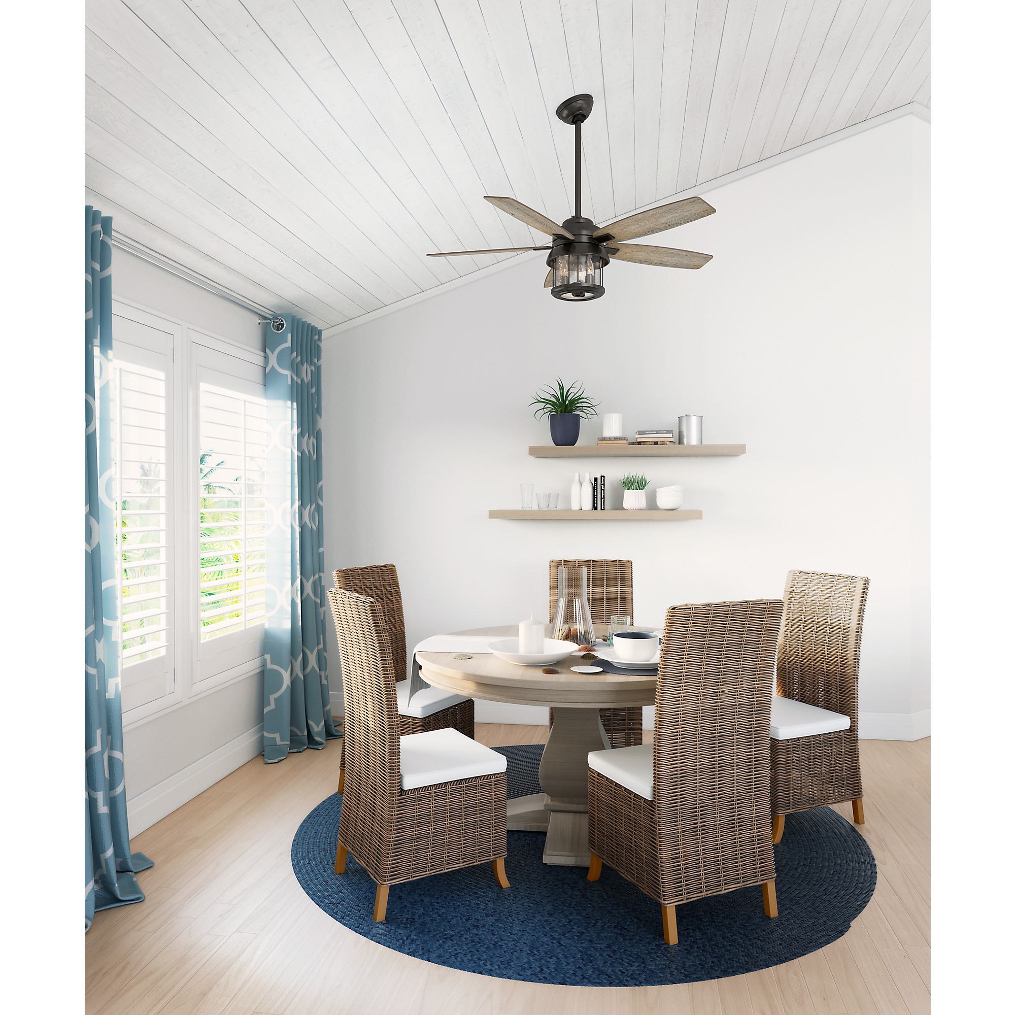 Coral Bay Indoor Outdoor Ceiling Fan With Light By Hunter