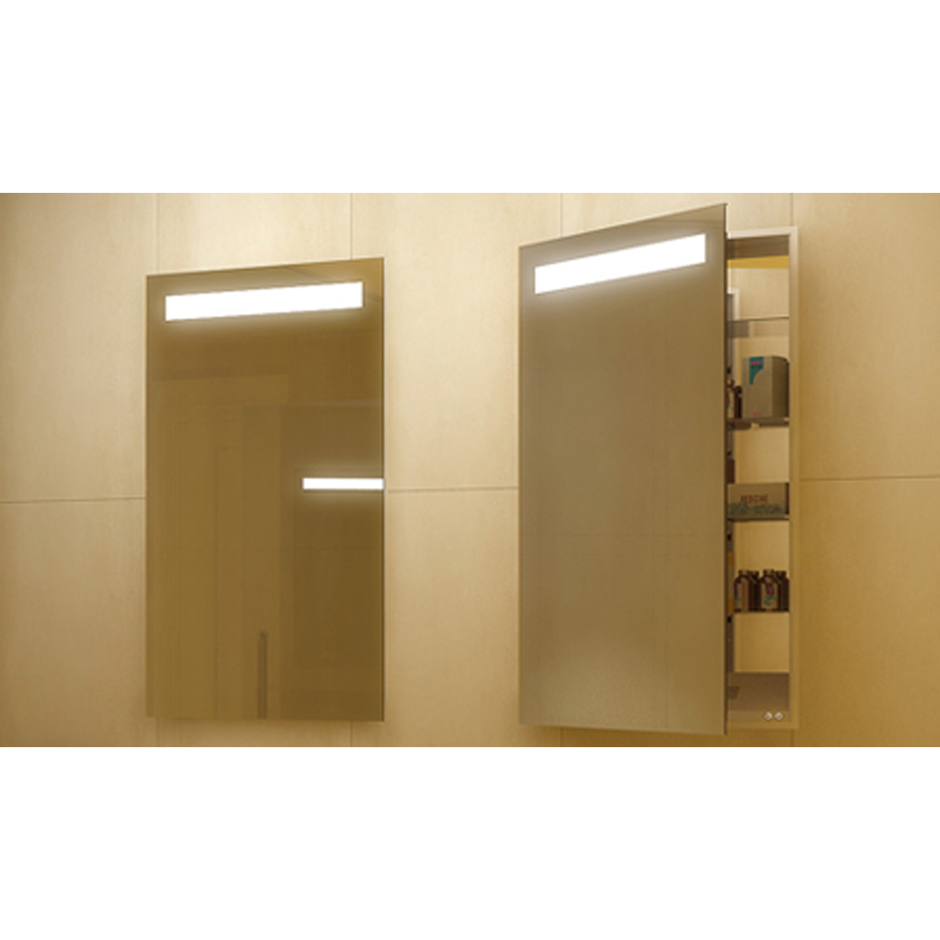 Luminous Right Recessed Medicine Cabinet By Electric Mirror