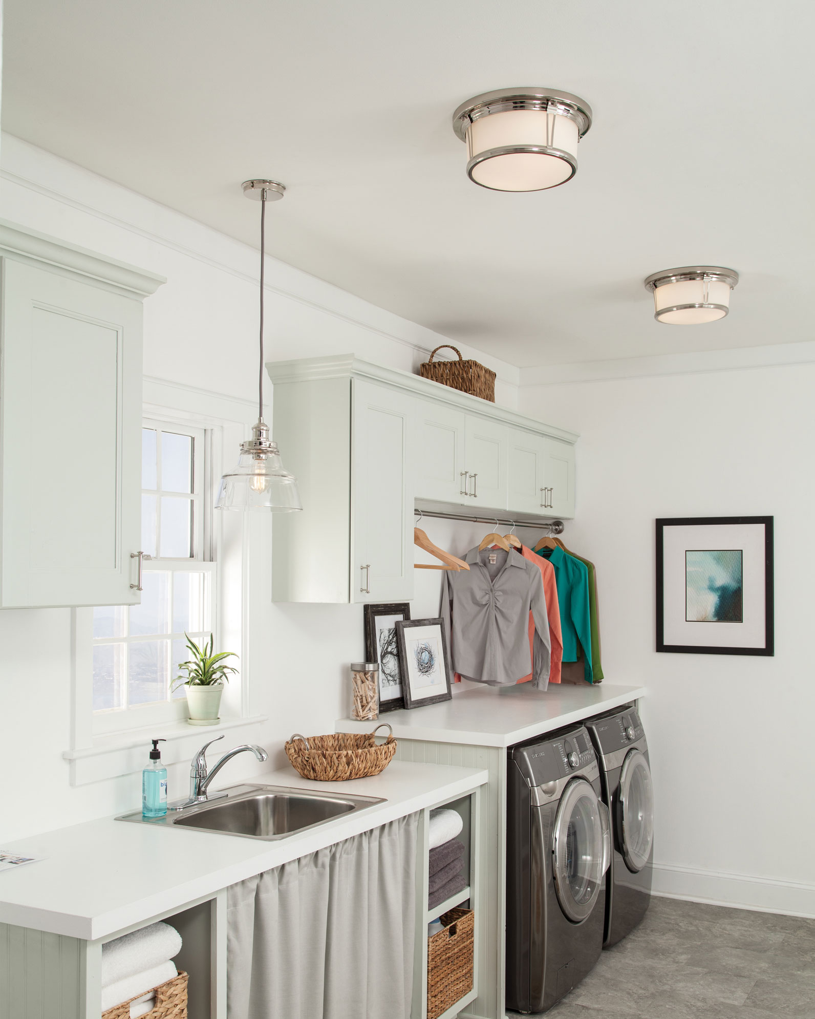 As laundry and utility rooms get bigger lights get more fuctional.